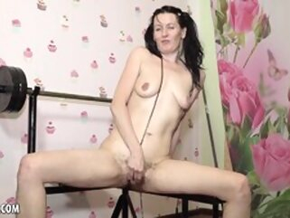 Naughty Evil Eva is Supposed to be Exercising porntv brunette masturbation russian