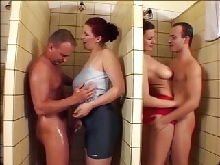 Stefany and Michelle close in all directions men's shower orgy, upscaled in all directions 60fps 4K porntv blowjob shower group sex